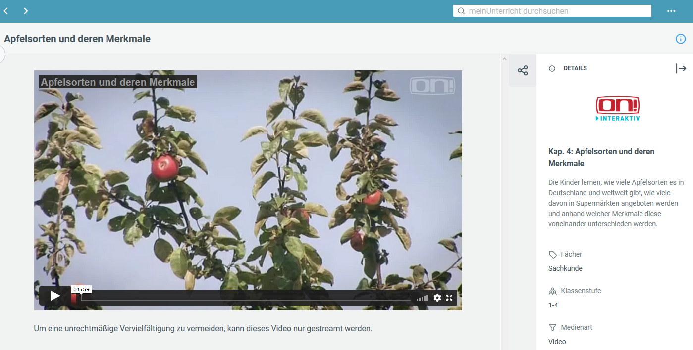 """Beispiel: Video zum Thema Apfelsorten in """"MeinUnterricht"""""""
